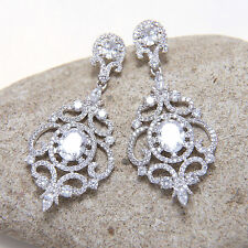 Cubic Zirconia Crystal Diamante Bridal Vintage Stud Wedding Chandelier Earrings