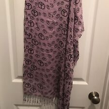 Peace Sign Scarf 63 X 23 Purple & Black Small Flaw See Last Photo