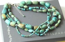 Silpada Chunky Multi-Strand Turquoise Sterling Silver Obsidian Necklace N1299