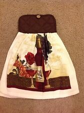 Wine Bottle vine Towel with pot holder top for hanging Hand assemble. Fall Color