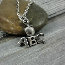 Silver Teacher Apple Necklace - Alphabet Charm Kindergarten Reading Teacher Gift