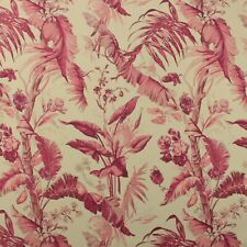 BRAEMORE BAMBOO PALM BERRY PINK TROPICAL FLORAL MULTIPURPOSE FABRIC BY YARD 54