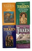 LORD OF THE RINGS Trilogy + HOBBIT 80s JRR Tolkien PAPERBACK Book LOT 4 Vintage