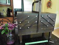 SINGER Vintage Accordion Folding 4 Tier Wooden Sewing Craft Box Basket Legs XL