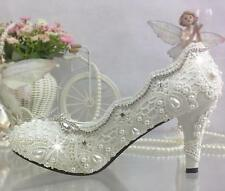 Lace white ivory crystal Wedding shoes Bridal flats low high heel pump size A621