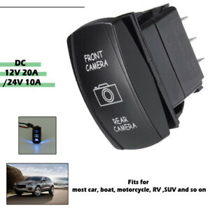 Universal 12V 7 Pins Front/Rear Camera LED Dpdt ON-OFF-ON Rocker Switch RV Boat
