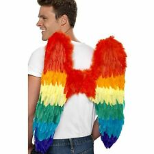 60cm Rainbow Feather Angel Wings Gay Pride Carnival Festival Fancy Dress Mens