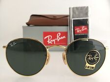 AUTHENTIC RAY-BAN ROUND METAL SUNGLASSES RB3447 001 50MM GREEN LENS GOLD FRAME
