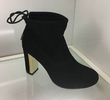 WOMENS LADIES BLACK SUEDE STYLE ANKLE BOOTS SHOES CASUAL HIGH BLOCK HEEL SIZE 4