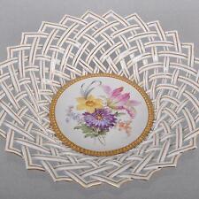 Meissen Blumen Bukett Korb mit Flechtrand Obstkorb Gitter Schale, 25cm, um 1850
