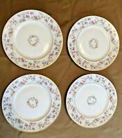 "4 Vintage Lamberton Reverie Salad Plates 7-1/2"" Gold Trim Fine China Pink Floral"