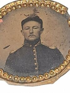 Rare 1860s Civil War Soldier Oval Pendant Tintype with Glass and Bezel