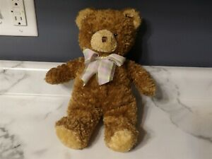 "HTF 2003 Princess Soft Toys 12"" Plush Brown BEAR w/ Pastel Ribbon (*7)"