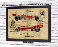 Niki Lauda Ferrari James Hunt no signed da Vinci Sketch Art print patent poster