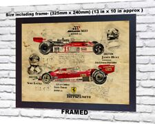 Niki Lauda Ferrari James Hunt no signed da Vinci Sketch Art print patent poster