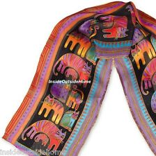 Laurel Burch Silk SCARF Wrap  Cat Fantastic Felines on Black Beads NEW