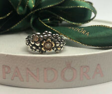 Pandora Flower Silver Gold Diamond Ring Size 56- 190245D  Authentic Ale Retired