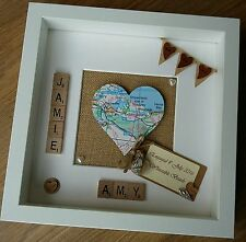 Wedding Engagement heart map personalised scrabble tile frame home location gift