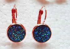 ROSE GOLD SPARKLING DRUZY RESIN PEACOCK BLUE ROUND LEVER BACK EARRINGS 12MM