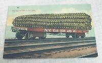 1920 Exaggeration Postcard Giant Ear of Corn Faux Lithograph Railroad Car
