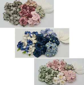 Special 35 Mulberry Paper Flowers Kit Pack Scrapbook DIY Wedding Craft Supply