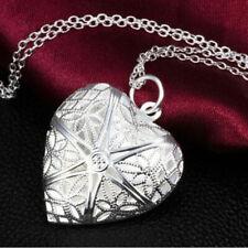 Weinlese-Silber-Liebes-Herz-Valentinsgruß-Liebhaber-Locket Halskette Anhäng S8E5