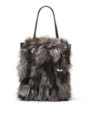NEW MICHAEL KORS COLLECTION BLACK ELEANOR FOX FUR SUEDE LARGE TOTE $1850