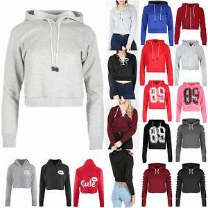 New Womens Ladies Hoody Full Sleeve Fleece Sweatshirt Pullover Hoodie Crop Top
