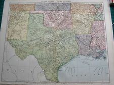 1919 LARGE ANTIQUE MAP-UNITED STATES SOUTH CENTRAL