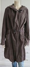 JESSIMARA brown 100% SUEDE relaxed coat with drawstring waist, hood & hem - UK12
