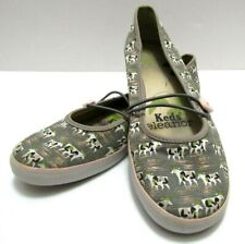 Keds Eleanor Womens Sz 10 Cow Print Gray Pink Flat Ballet Canvas Comfort Shoes