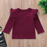 Toddler Baby Girls Solid Long Sleeve Ruffles Candy Color Tops T Shirts Clothes