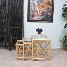 Rattan Stacking Nesting Side End Table Set of 3 (Natural finish)