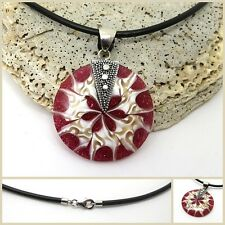 925 Sterling Silver RED Bali Shell Pendant with 18 Inch Black Neck Band