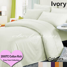 Queen 2000TC Cotton CVC Easy Care Quilt Cover&Tailored Pillowcases Ivory-RRP$472
