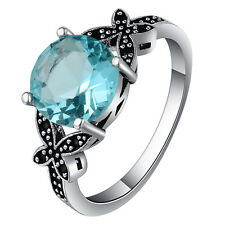 925 Silver Ring 2.3ct Aquamarine Vintage Prom Wedding Ring Women Man Size 10