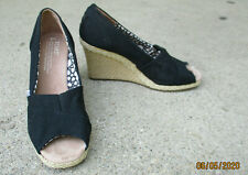 TOMS Black Fabric Wedge Heel Peep Toe Size 6