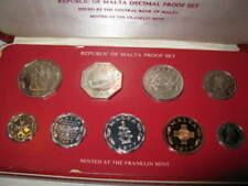 1977 Republic Malta 9pc Proof Decimal Set Coins Franklin Mint Old Foreign Bu Unc