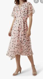 BNWT Karen Millen X Royal Ascot Pink Polka Dot Summer Dress Size 12 RRP £225