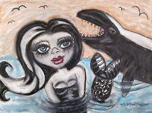 GOTH Mermaid Original 9x12 Pastel Painting Signed Artist False Killer Whale