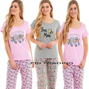 Ladies Pyjamas Set Nightwear Pjs Soft Loungewear Cotton short Sleeve Size