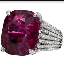 Women's Ruby Gemstone Silver Bride fashion jewelry wedding rings Size 9