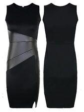 Women's Black Short Sleeve Faux Leather Business Casual Career Dress Sz L
