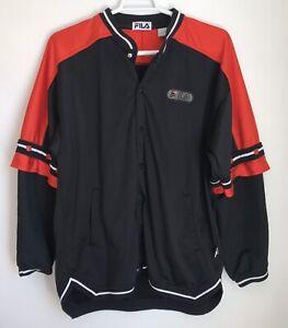 Fila Mens L Vintage Jacket Black Red Warm Up Snap Front Snap Off Sleeves