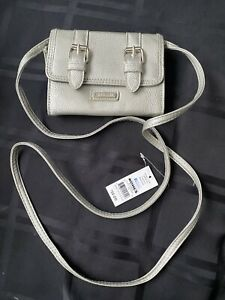 Rosetti silver Wallet shoulder strap With 2 Zipper Compartments & Rear Pocket.