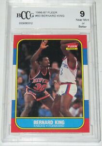 1986-87 Bernard King New York Knicks Fleer Basketball Card #60 BCCG 9 NEAR MINT