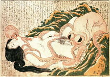 Vintage Hokusai Japan Erotica Woman Girl Nude Print Poster Wall Art Picture A4+