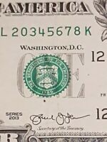 ➡➡2013 US Fancy Serial Number $1 BIG Up 6 Digit (Broken 7) Ladder Note 20 345678