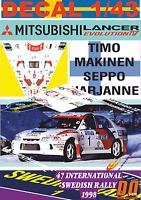 DECAL 1/43 MITSUBISHI LANCER EVO IV T.MAKINEN SWEDISH R. 1998 WINNER (01)