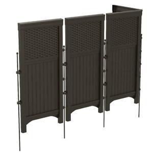 Suncast 4-Panel Outdoor Steel & Resin Freestanding Screen Enclosure, Brown